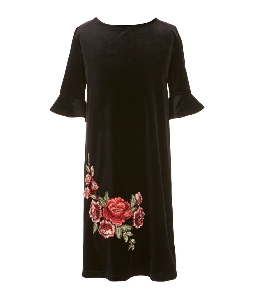 People's Project LA Big Girls 7-16 Verv Velvet Rose-Applique Dress