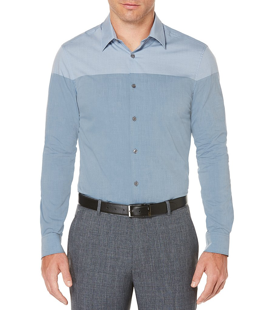 Perry Ellis Color Block Long-Sleeve Woven Shirt
