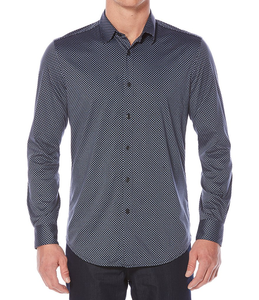 Perry Ellis Diamond Print Long-Sleeve Woven Shirt