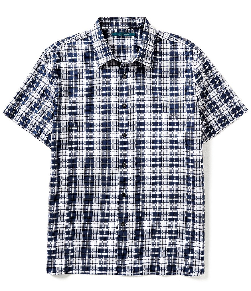 Perry Ellis Digital Plaid Short-Sleeve Woven Shirt