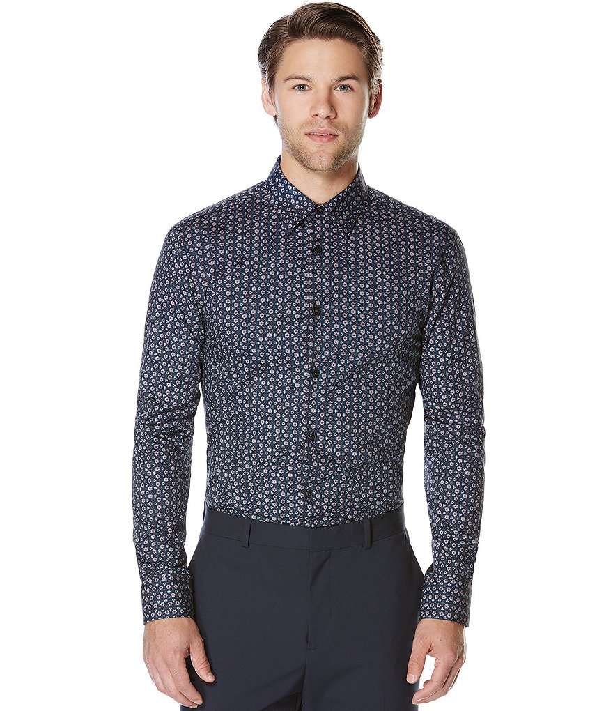 Perry Ellis Repeating Geo Floral Print Long-Sleeve Woven Shirt