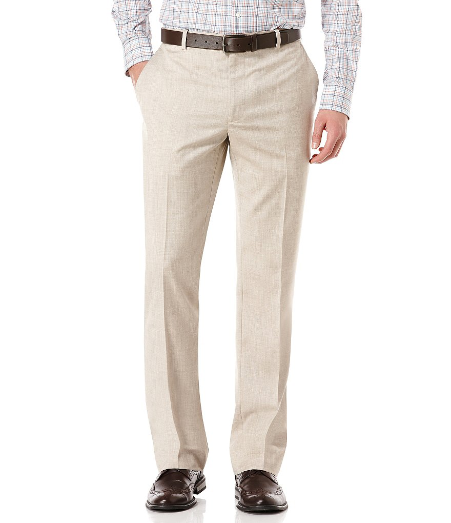 Perry Ellis Herringbone Slim Fit Flat-Front Pants