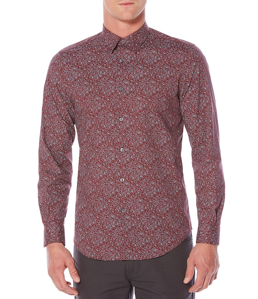 Perry Ellis Midnight Floral Print Long-Sleeve Woven Shirt