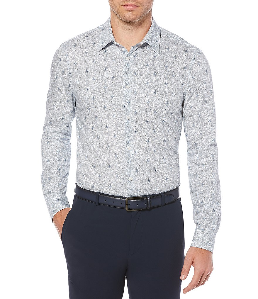 Perry Ellis Mosaic Paisley Stretch Long-Sleeve Woven Shirt