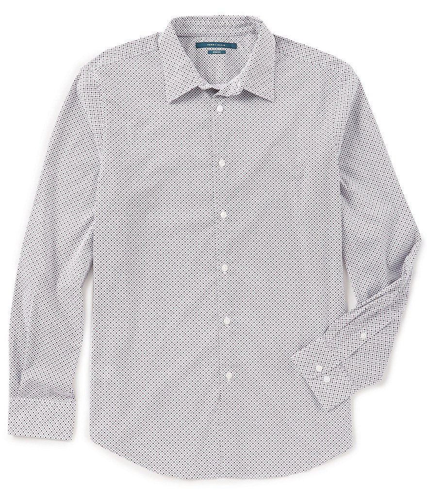 Perry Ellis Multi-Color Dot Print Stretch Long-Sleeve Woven Shirt