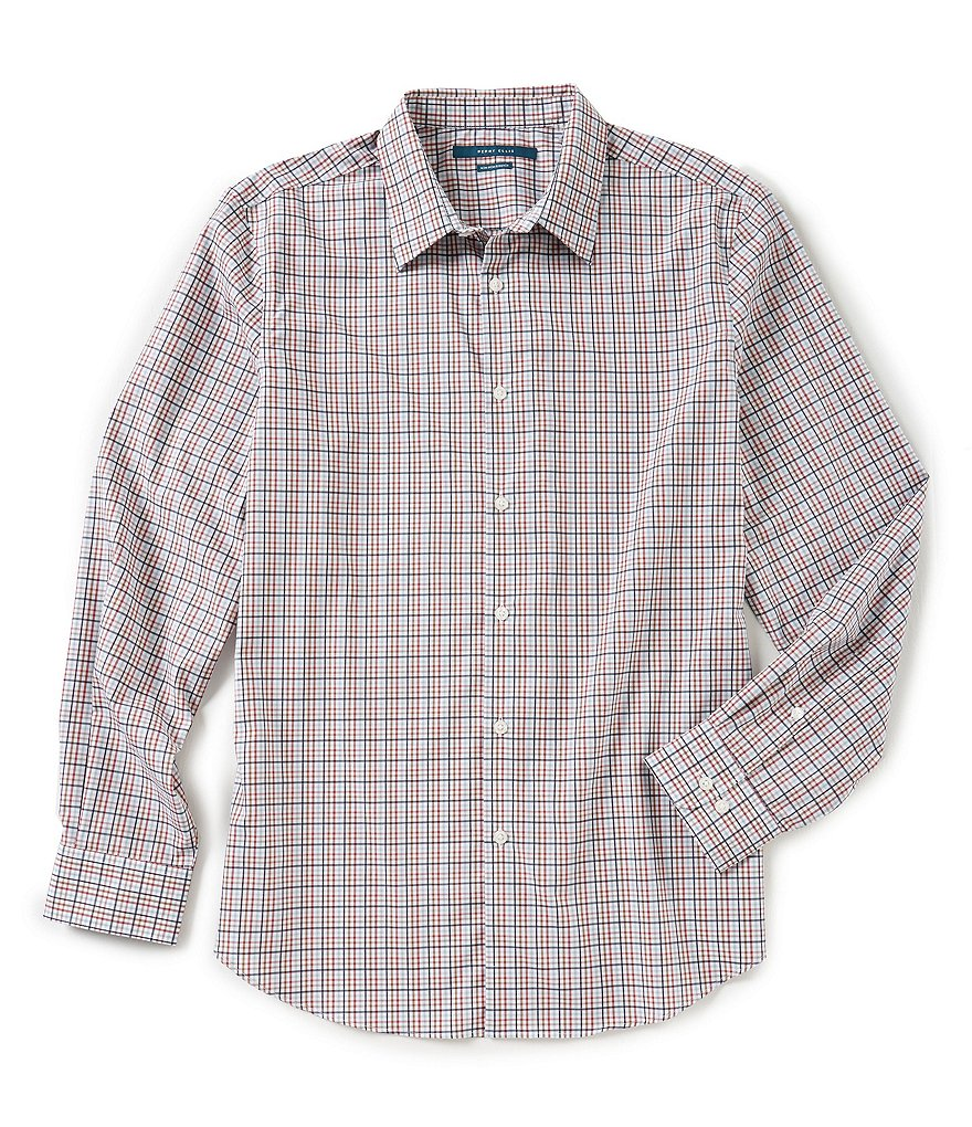 Perry Ellis Non-Iron Check Long-Sleeve Woven Shirt
