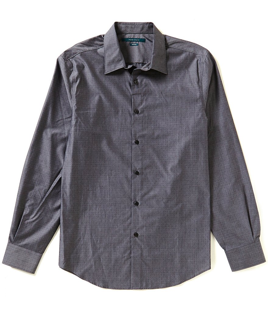 Perry Ellis Non-Iron Dobby Pattern Long-Sleeve Woven Shirt