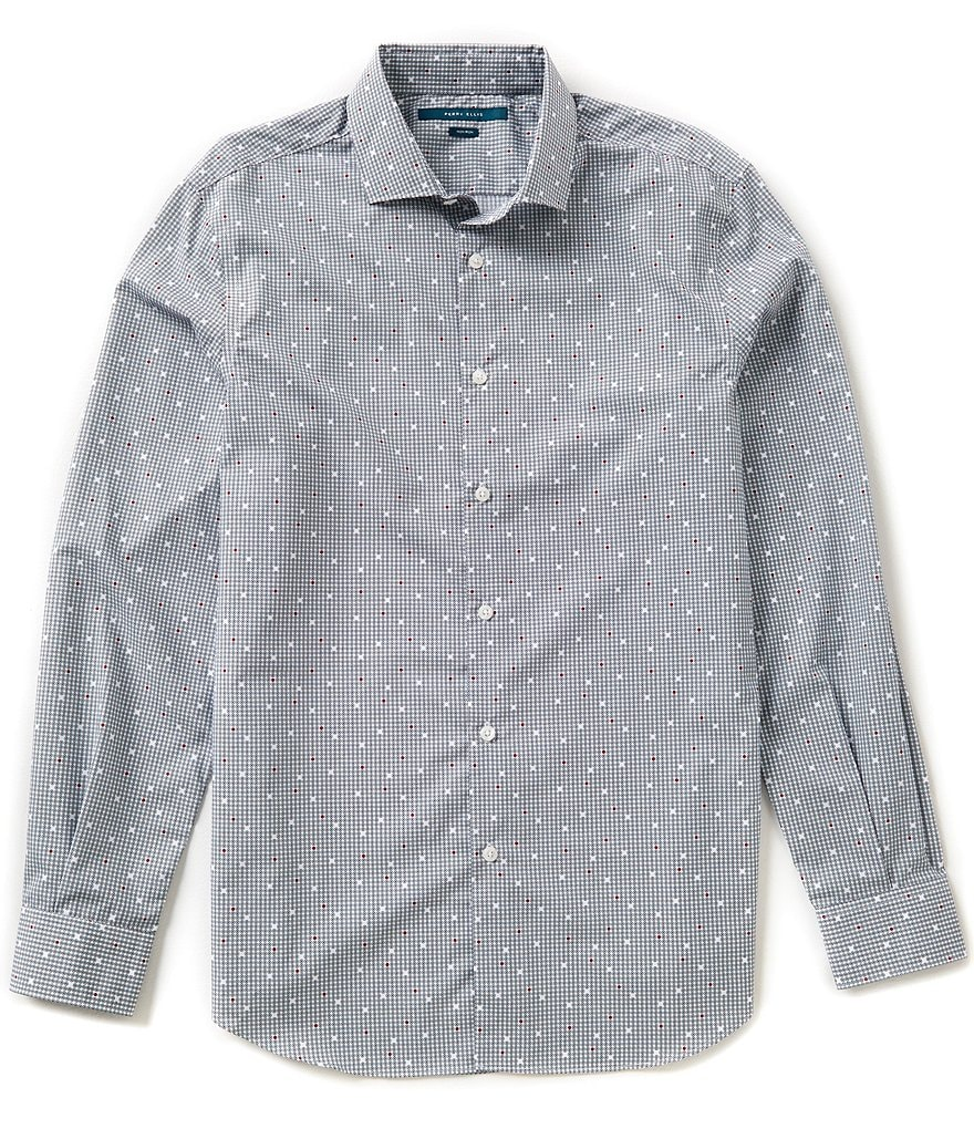 Perry Ellis Non-Iron Long-Sleeve Repeating Dot Print Woven Shirt