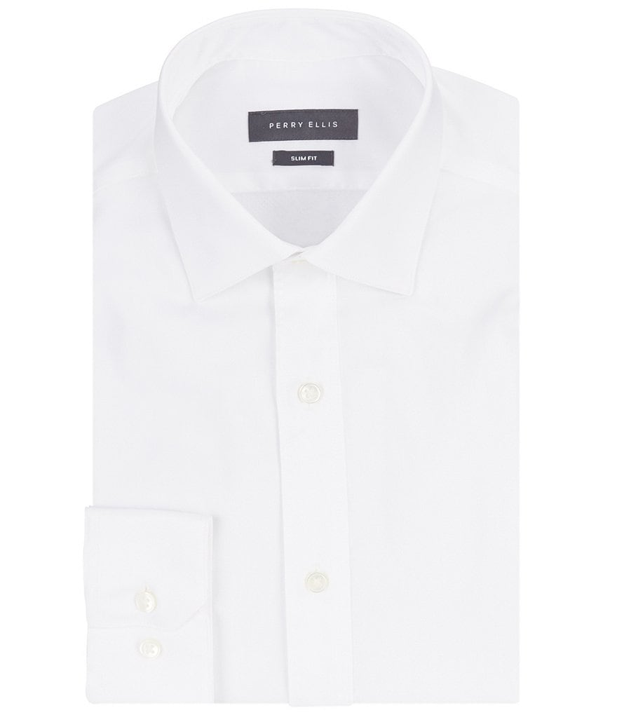 Perry Ellis Non-Iron Slim-Fit Spread-Collar Solid Stretch Twill Dress Shirt