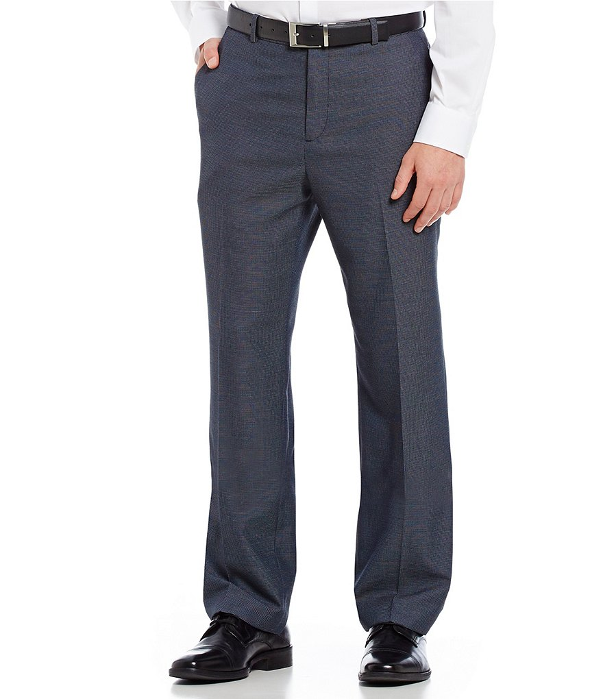 Perry Ellis Non-Iron Straight-Fit Flat-Front Micro Check Pants