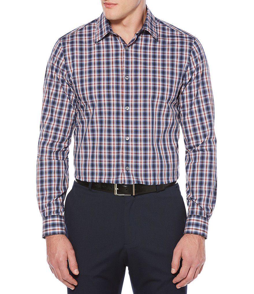 Perry Ellis Non-Iron Stretch Plaid Ombre Long-Sleeve Woven Shirt