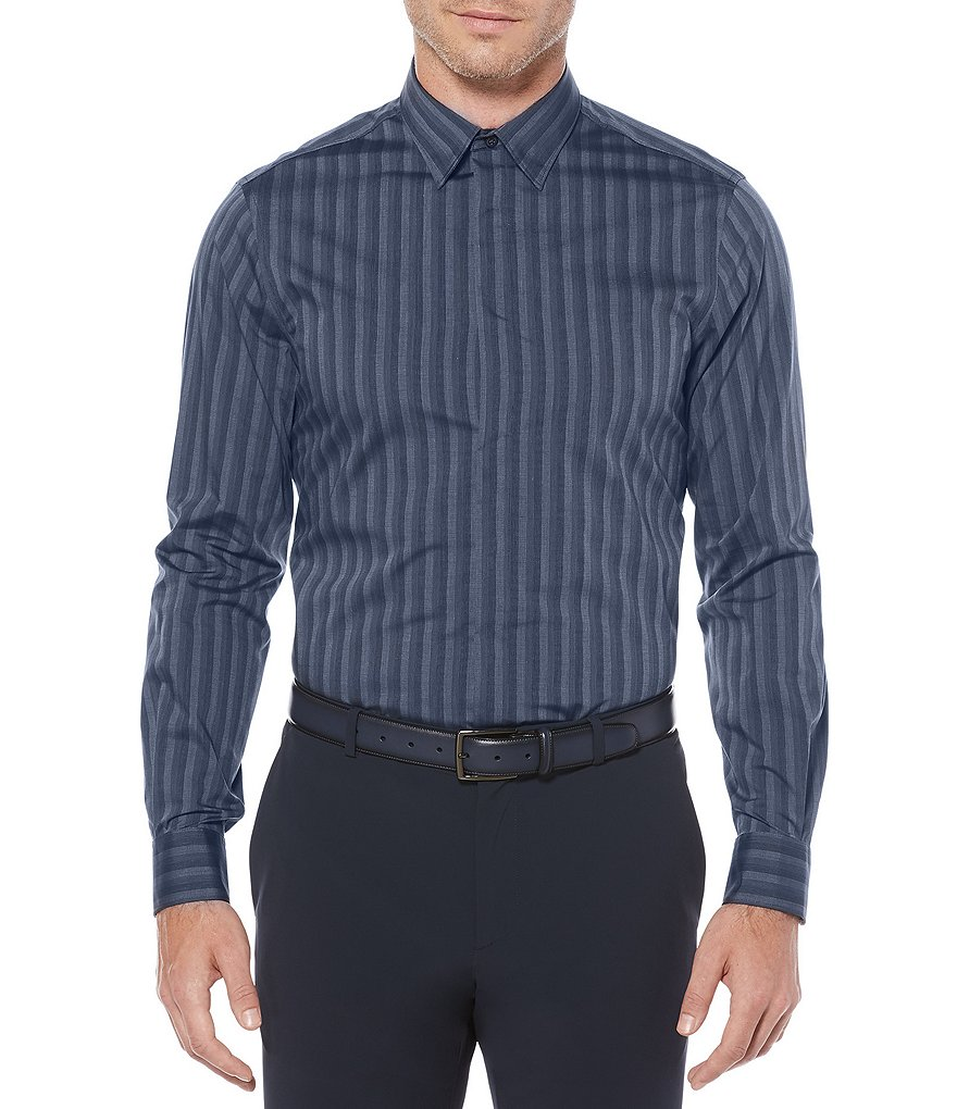 Perry Ellis Non-Iron Stripe Stretch Long-Sleeve Woven Shirt