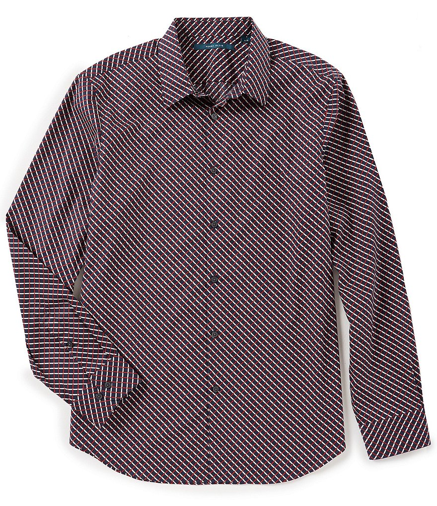 Perry Ellis Optical Mini-Ribbon Stripe Long-Sleeve Woven Shirt