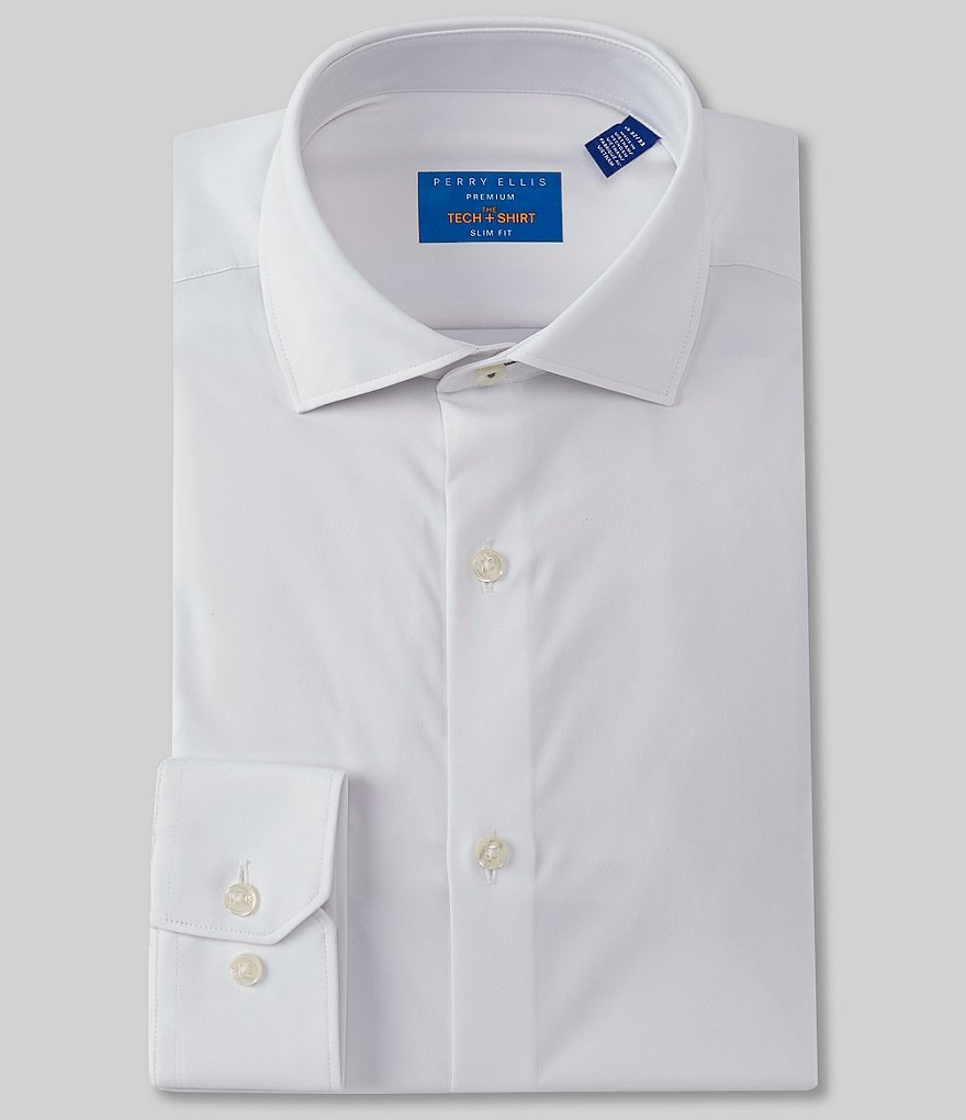 Perry Ellis Premium Non-Iron Performance Slim-Fit Spread Collar Solid Dress Shirt