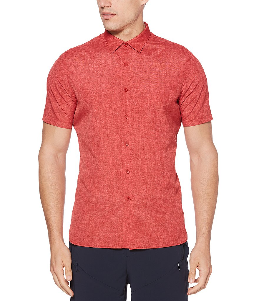 Perry Ellis Slim-Fit End-On-End Short-Sleeve Woven Shirt
