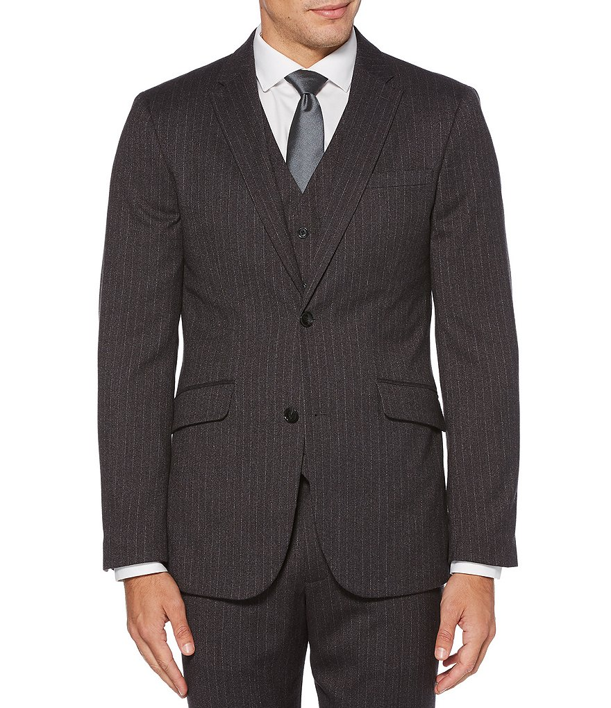 Perry Ellis Slim-Fit Heathered Stripe Stretch Suit Separates Jacket