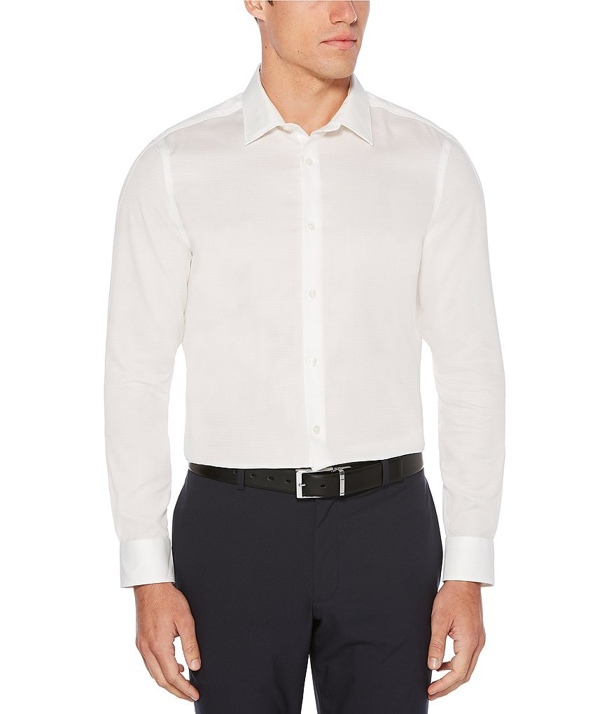 Perry Ellis Slim-Fit Solid Dobby Wrinkle-Resistant Water-Repellent Long-Sleeve Woven Shirt