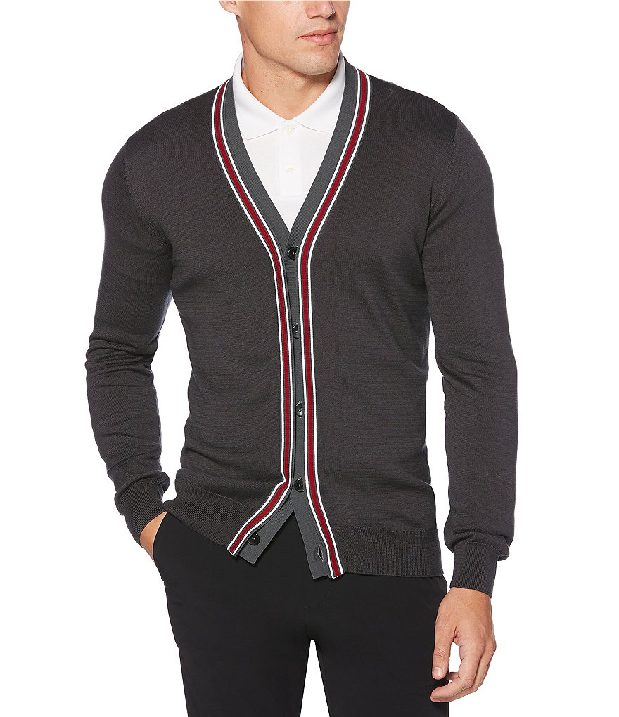 Perry Ellis Solid Accent Knit Cardigan