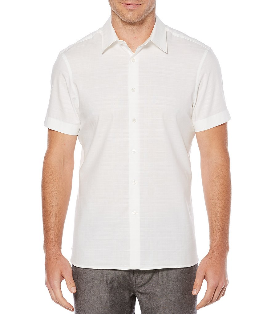 Perry Ellis Solid Dobby Slub Short-Sleeve Woven Shirt