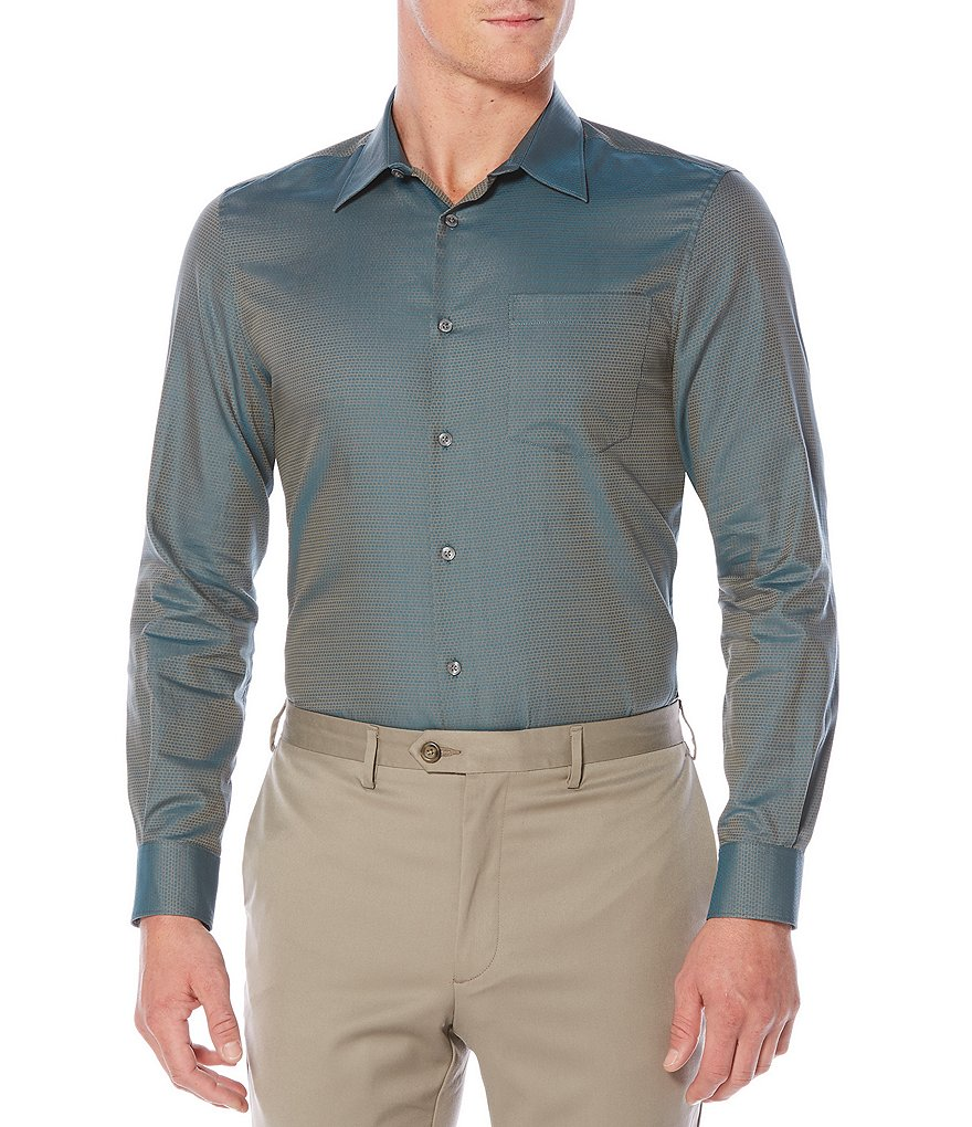 Perry Ellis Solid Jacquard Long-Sleeve Woven Shirt