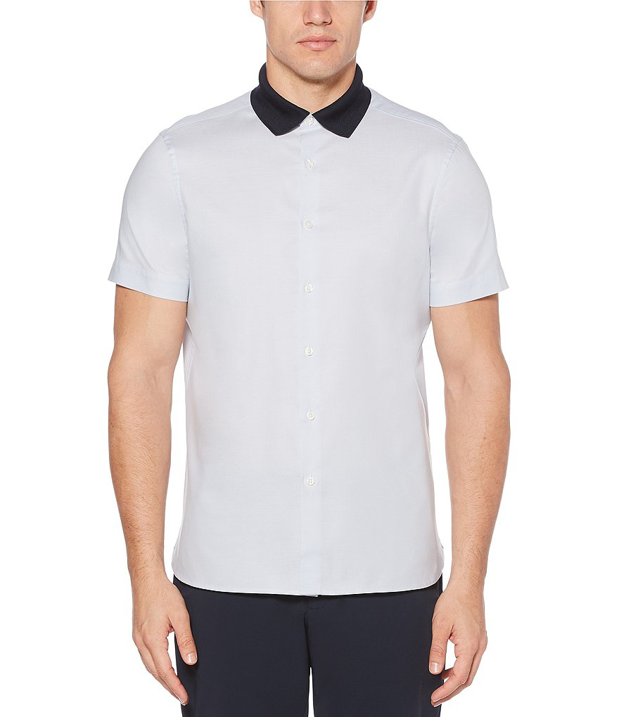 Perry Ellis Solid Oxford Knit Collar Short-Sleeve Woven Shirt
