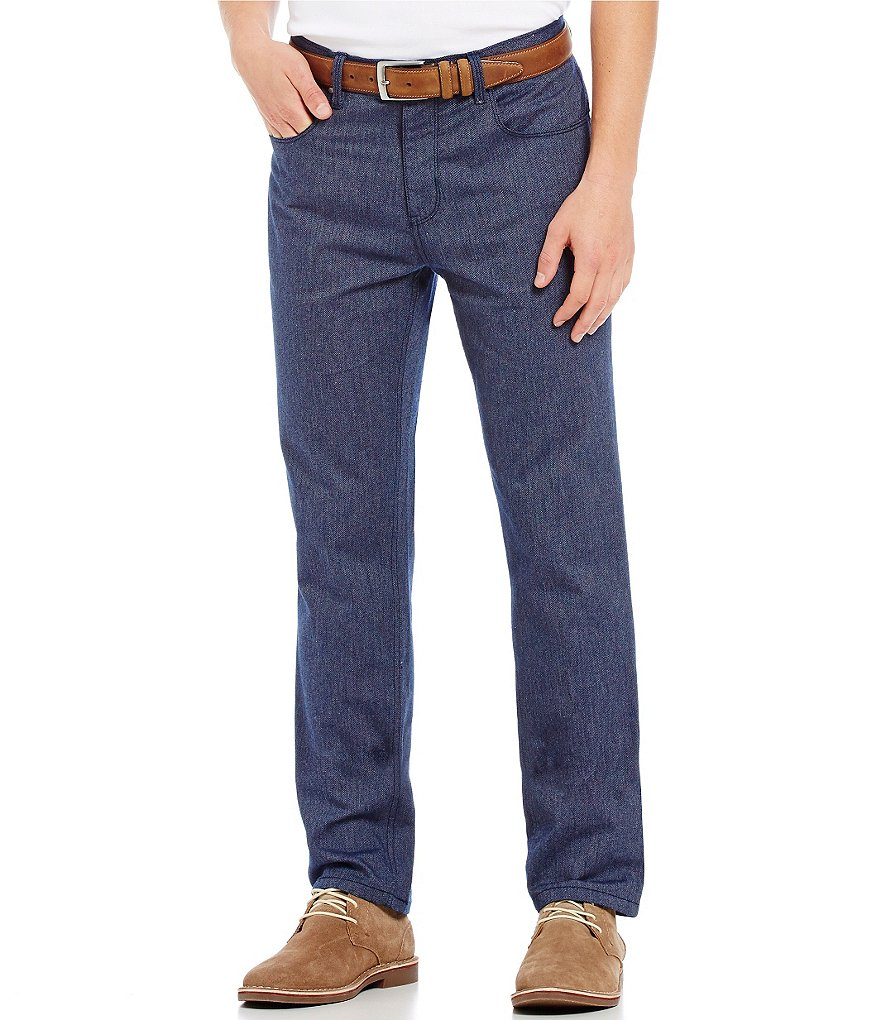 Perry Ellis Straight-Fit Flat-Front Herringbone Pants