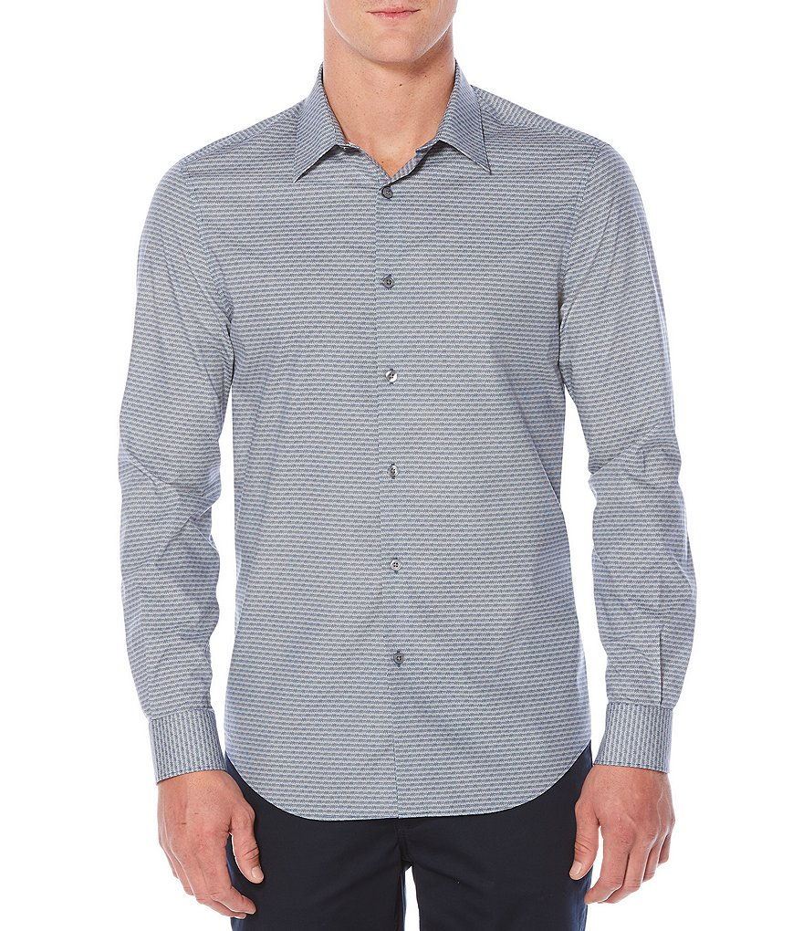 Perry Ellis Tonal Stripe Stretch Long-Sleeve Woven Shirt