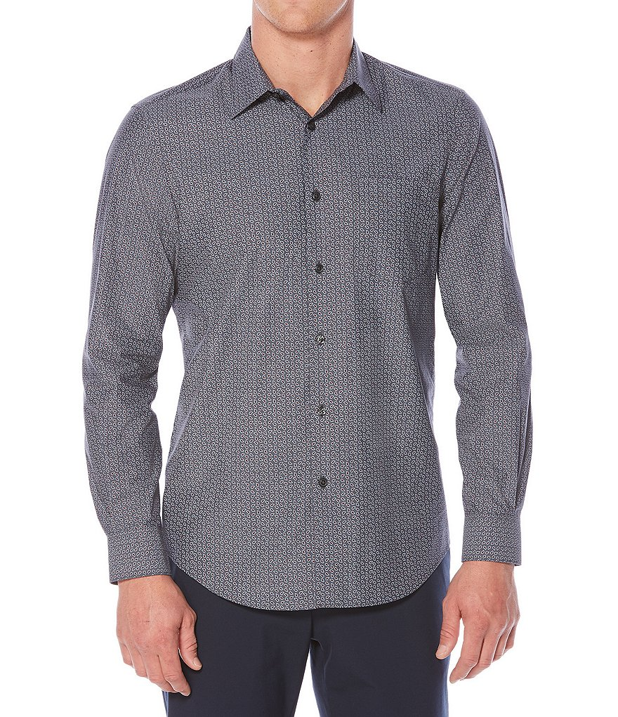 Perry Ellis Tossed Paisley Print Long-Sleeve Woven Shirt
