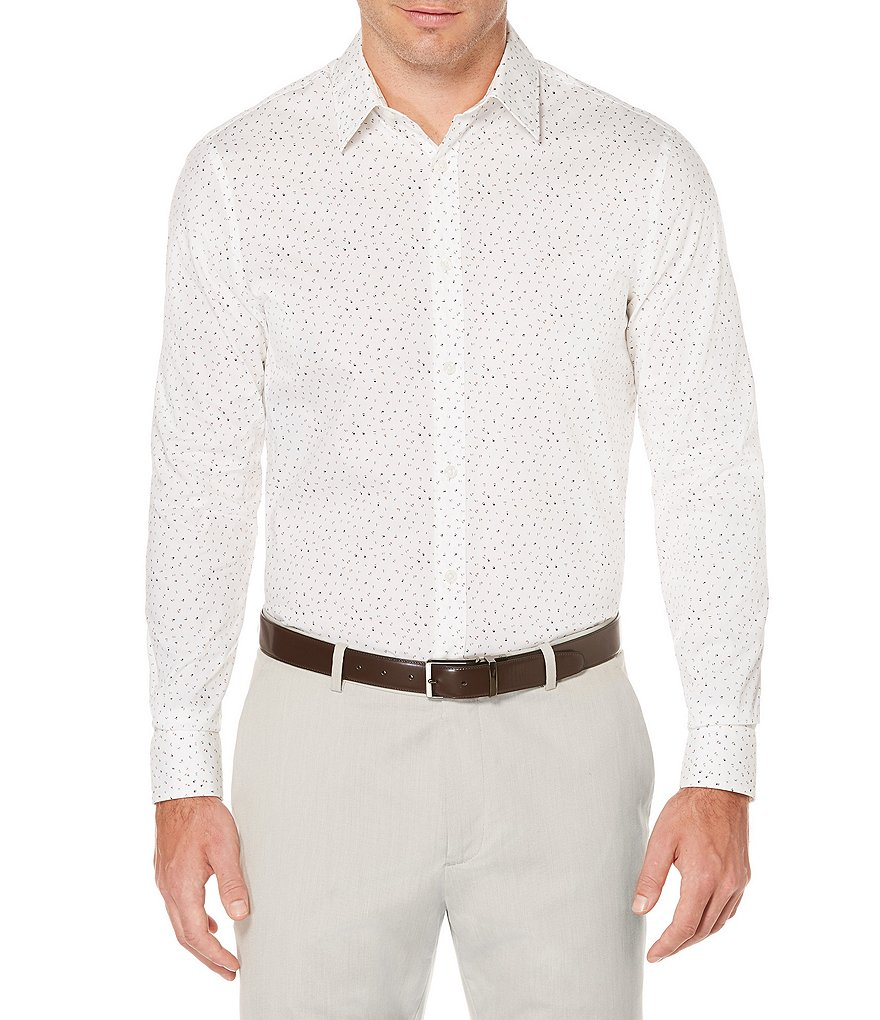 Perry Ellis Triangle Print Long-Sleeve Woven Shirt