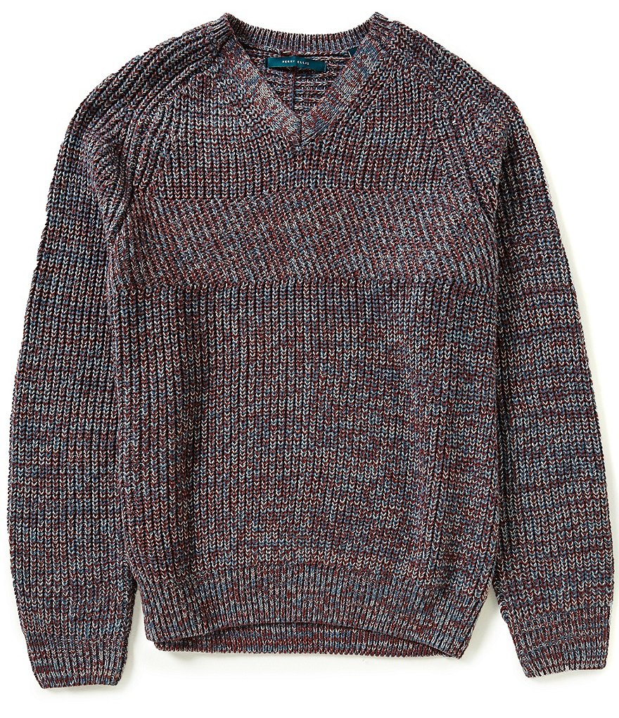 Perry Ellis V-Neck Long-Sleeve Textured Sweater