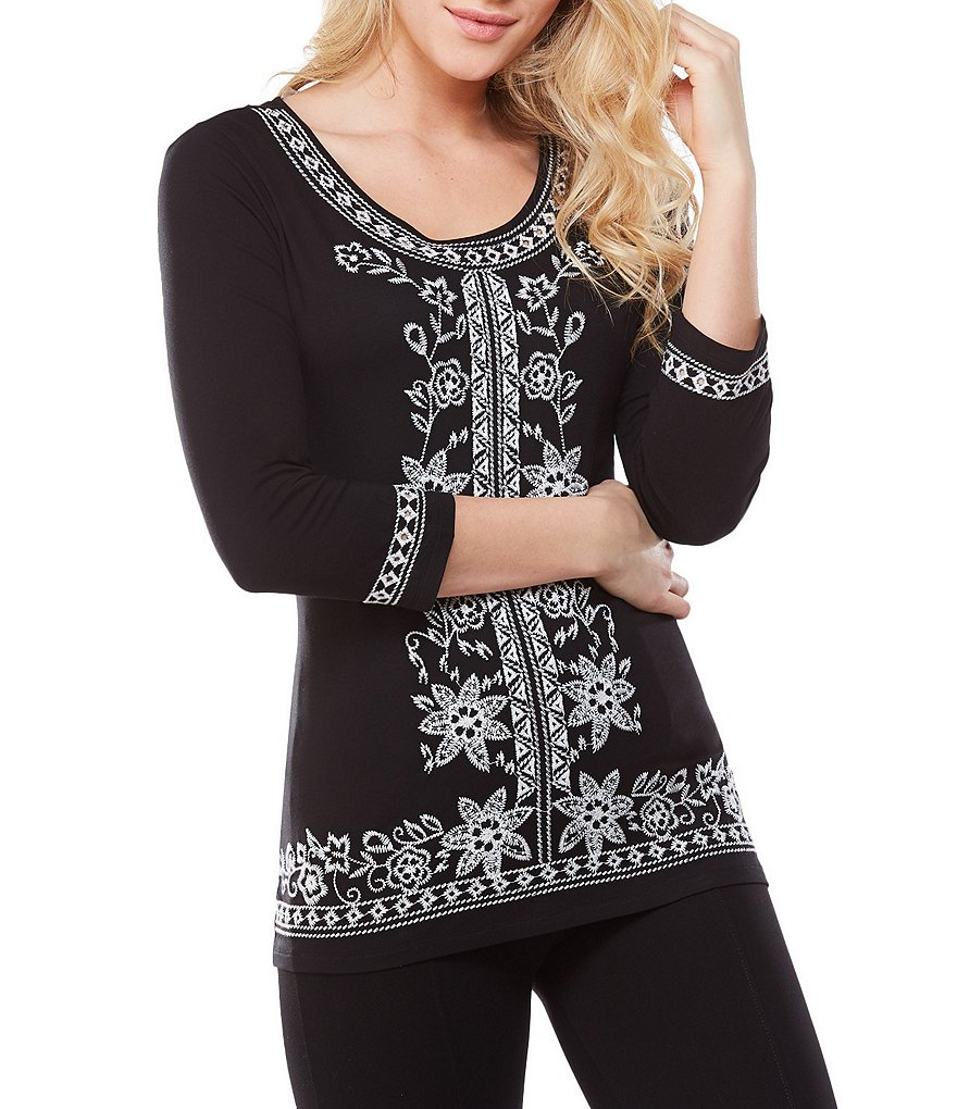 Peter Nygard 3/4 Sleeve Floral Embroidered Border Tunic Tee