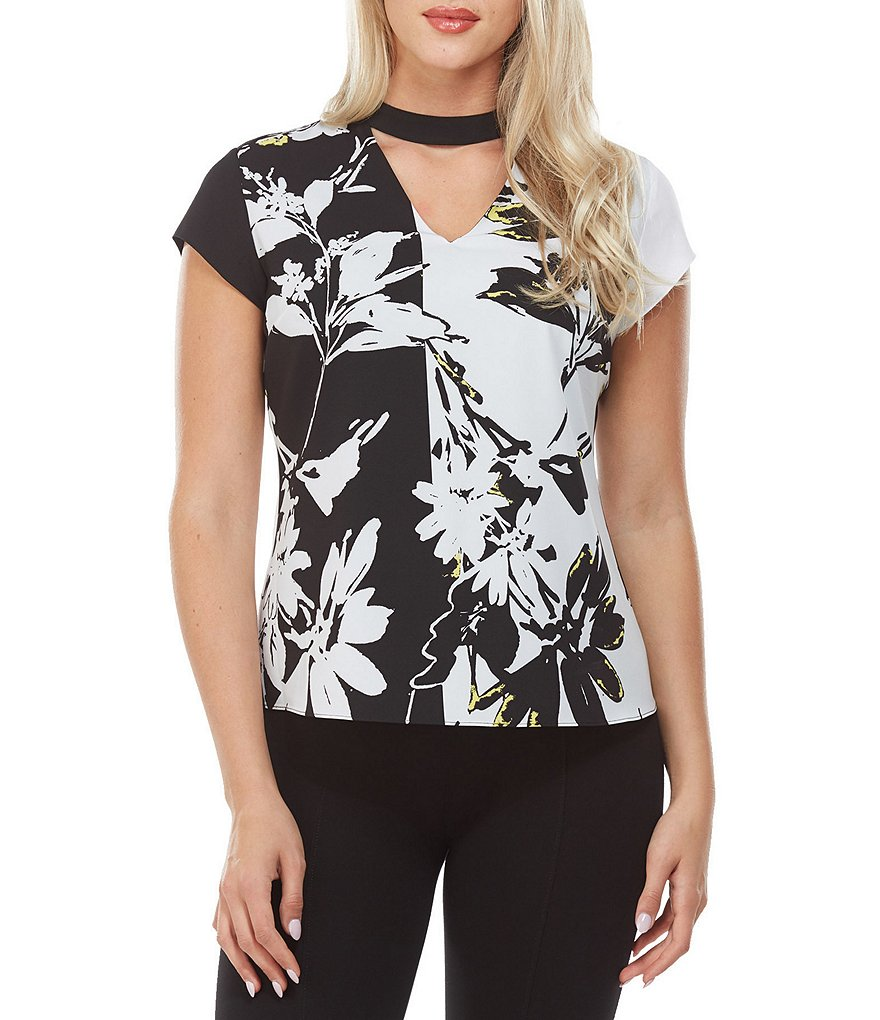 Peter Nygard Cap Sleeve Floral Choker Neck Top