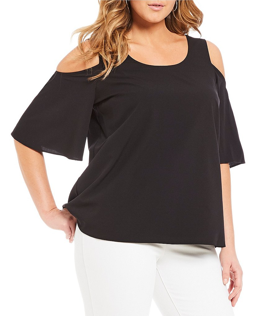Peter Nygard Cold Shoulder Criss-Cross Top