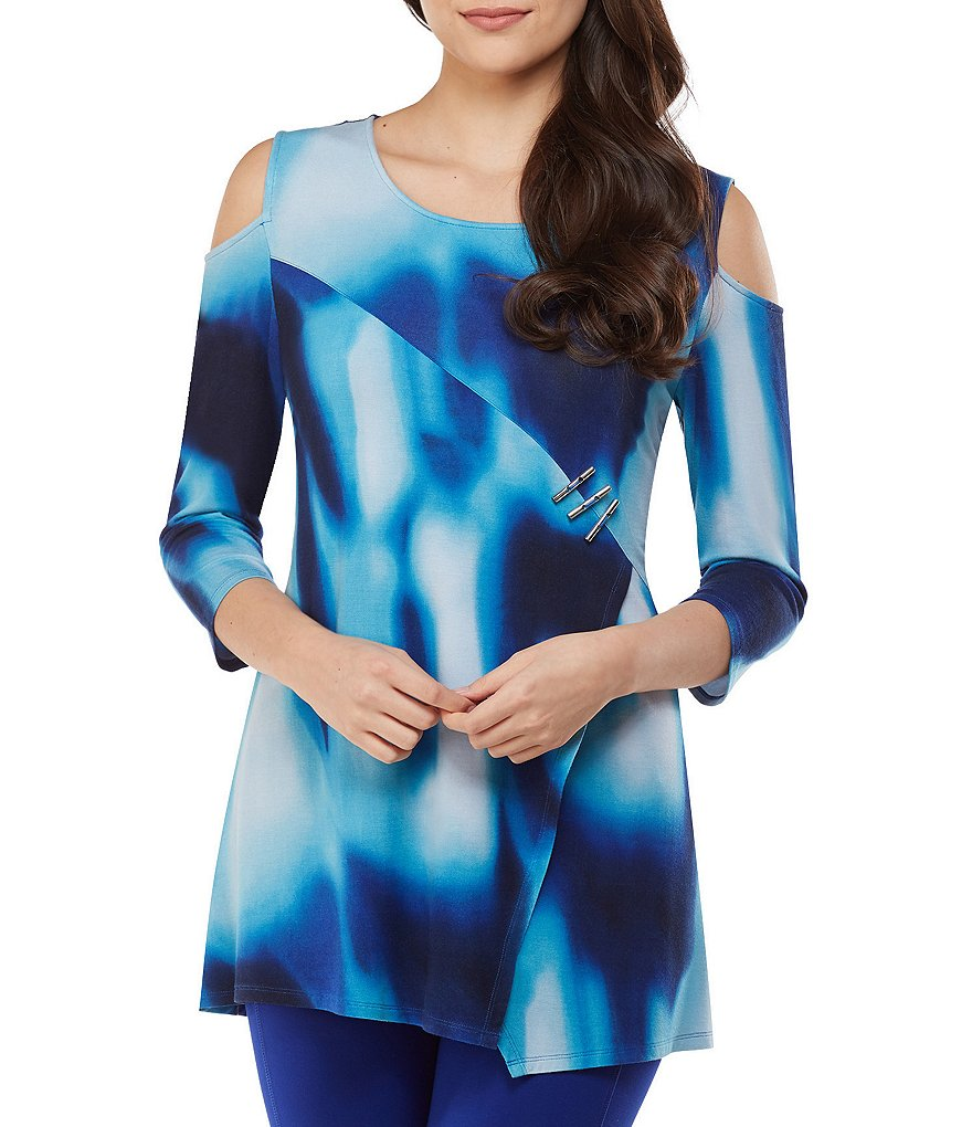 Peter Nygard Cold-Shoulder Tie Dye Tunic