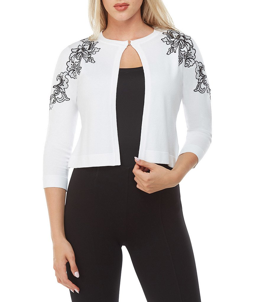 Peter Nygard Embroidered Floral Cropped Cardigan