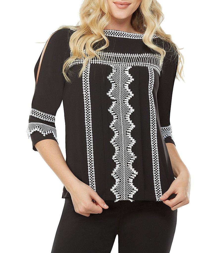 Peter Nygard Embroidered Lace Trimmed Cold Shoulder Blouse