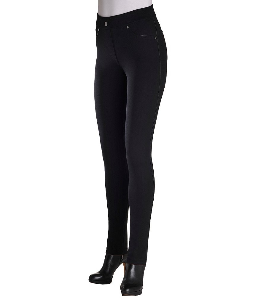 ADX SLIMS by Allison Daley Faux-Leather-Trimmed Ponte Jeggings