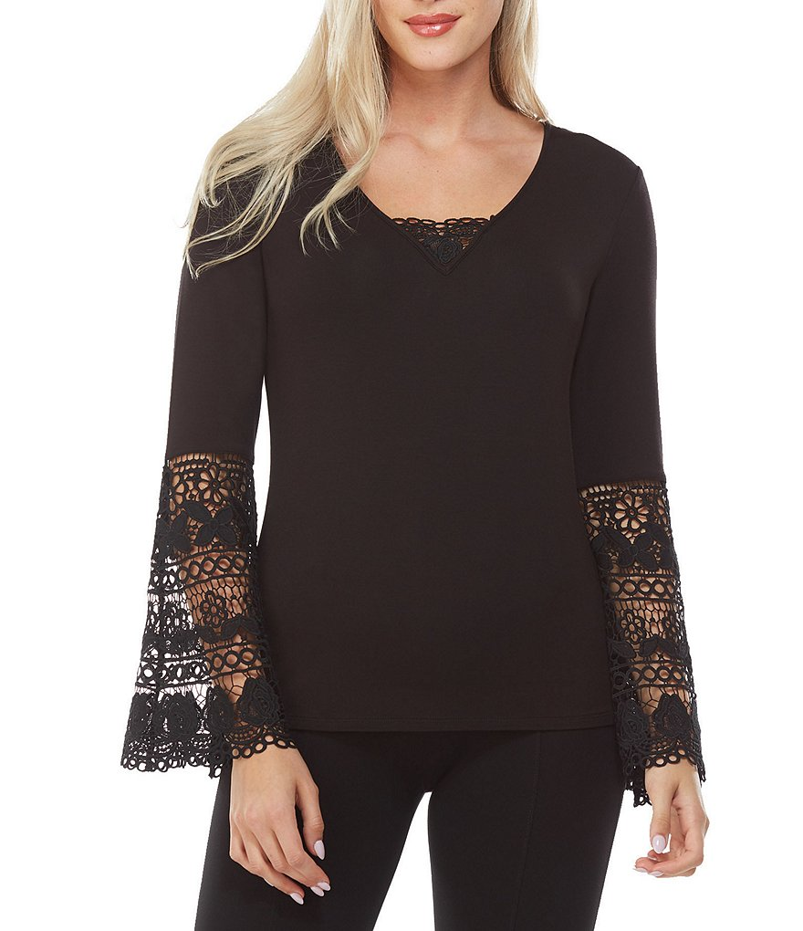Peter Nygard Lace Bell Sleeve V-Neck Top