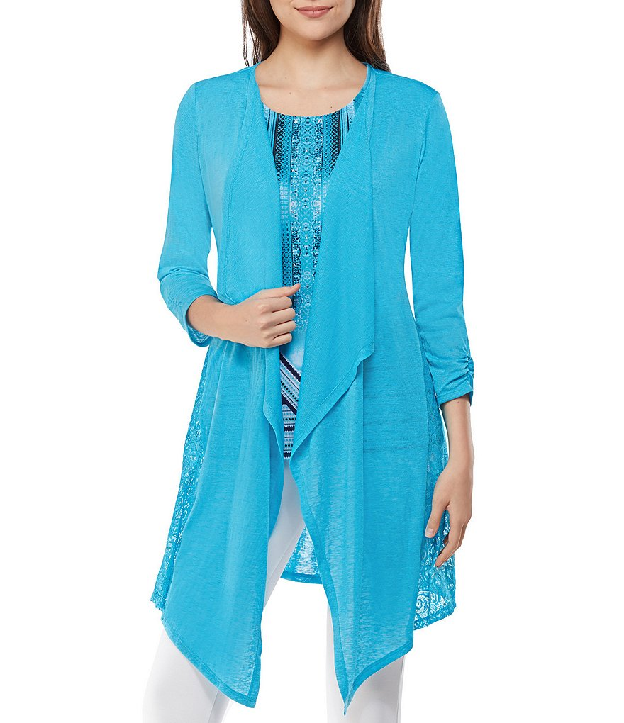 Peter Nygard Lace Panel Duster Cardigan