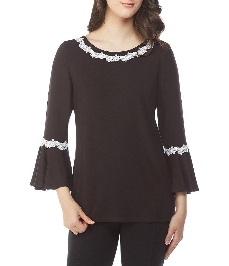 Peter Nygard Lace Trimmed Bell Sleeve Top