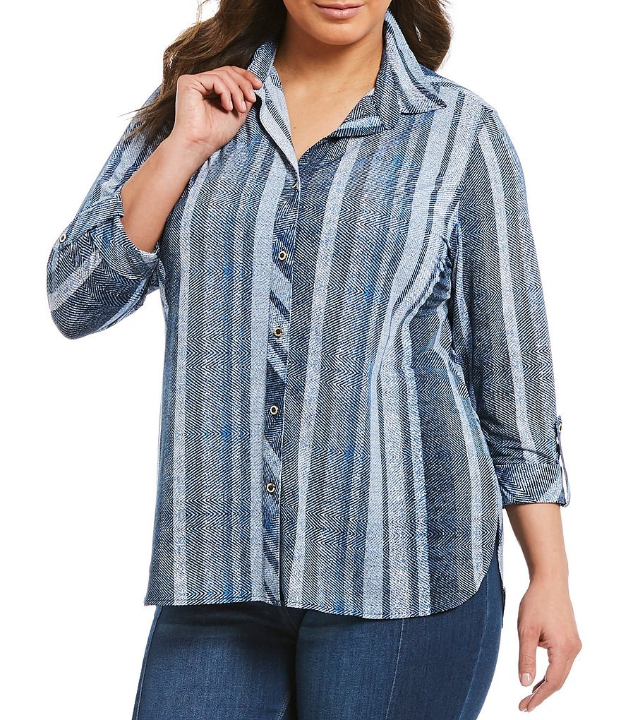 Peter Nygard Plus Hi-Low Button Front Shirt