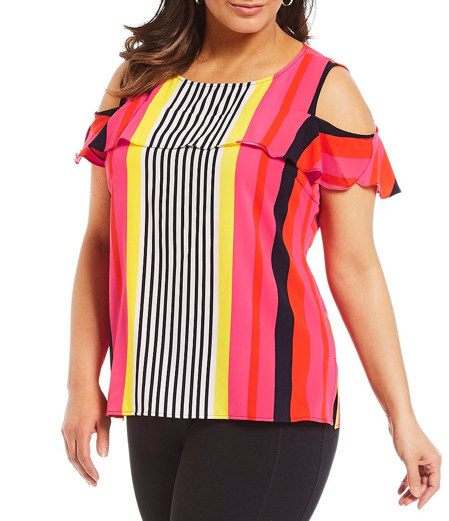 Peter Nygard Plus Ruffle Cold Shoulder Stripe Top