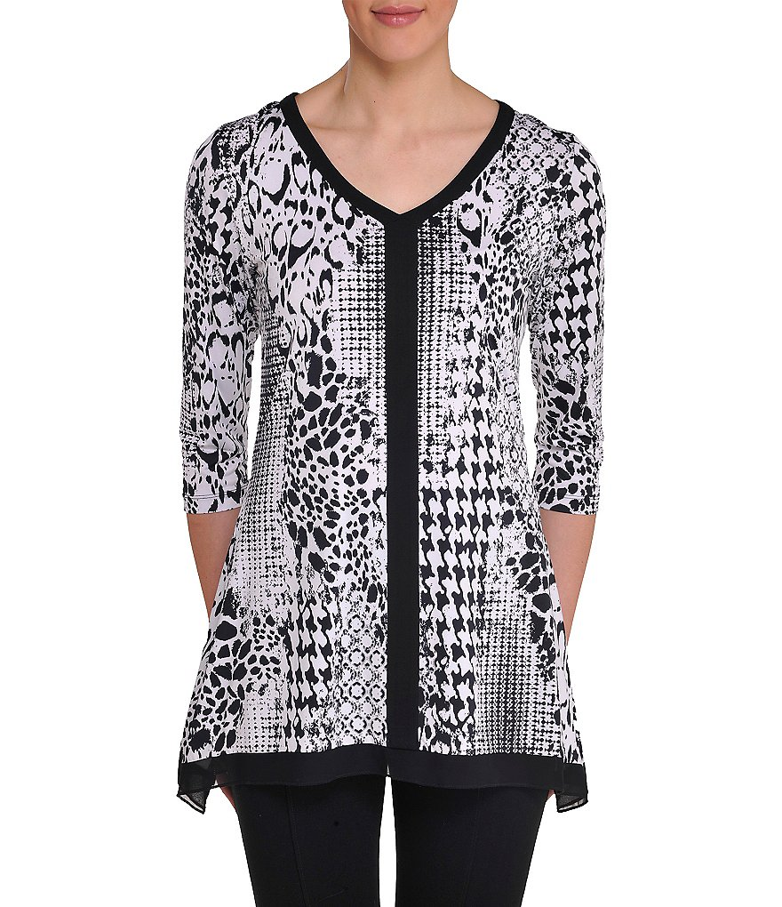 Peter Nygard Printed Sharkbite Tunic