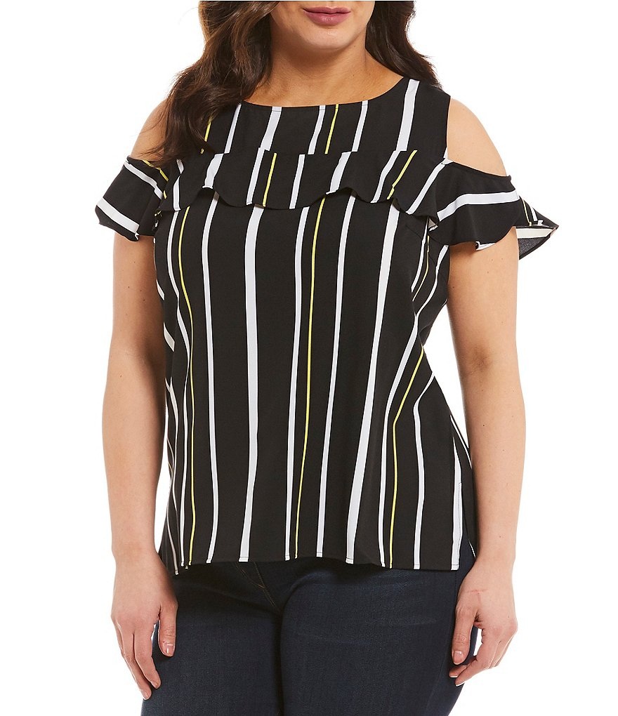 Peter Nygard Striped Ruffle Cold Shoulder Top