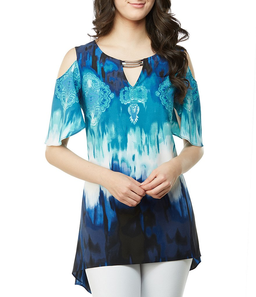 Peter Nygard Woven Printed Cold Shoulder Tie Dye Tunic Top