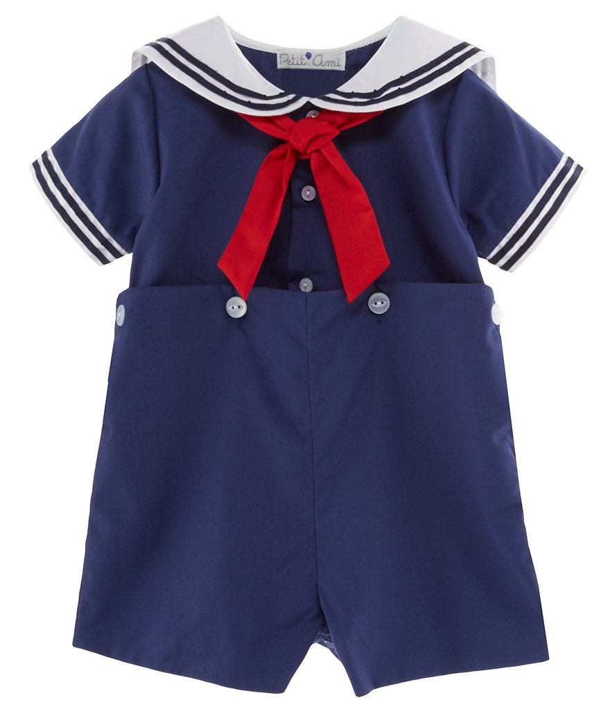 Petit Ami Baby Boys 3-24 Months Sailor Suit Shortall