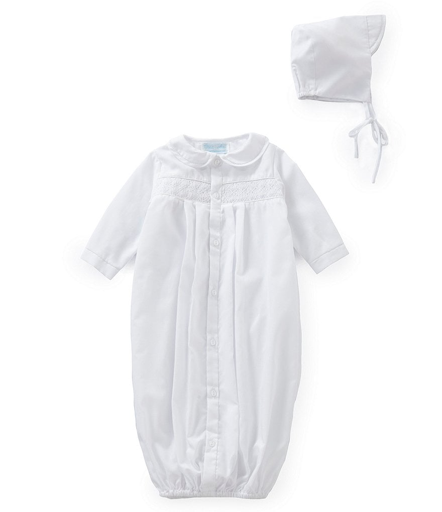 Petit Ami Baby Boys Newborn Smocked Gown & Hat Set