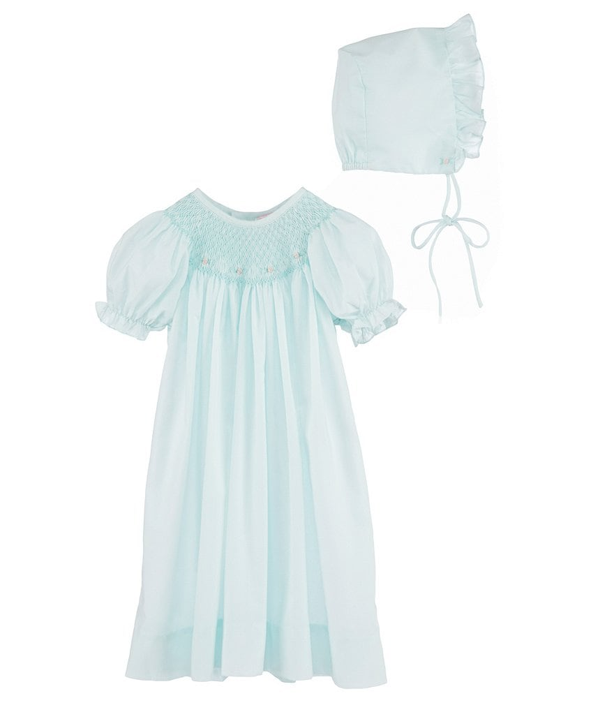Petit Ami Baby Girls Newborn-3 Months Smocked Gown & Bonnet Set ...