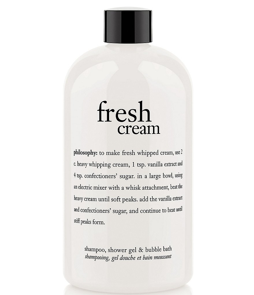 philosophy fresh cream shampoo, shower gel, & bubble bath