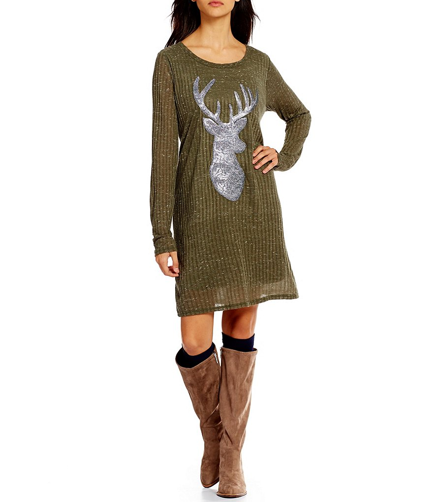 Pink Owl Sequin Deer Applique Long Sleeve Shift Dress